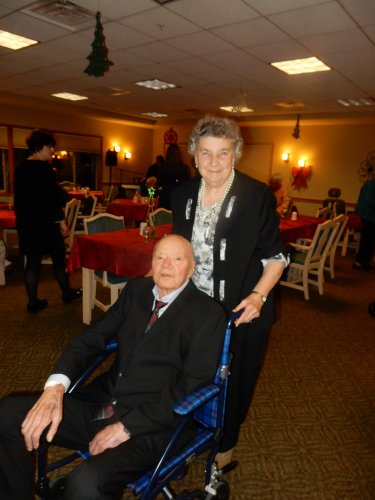 In their holiday best - Lorrain and Bob at the  Christmas party.
