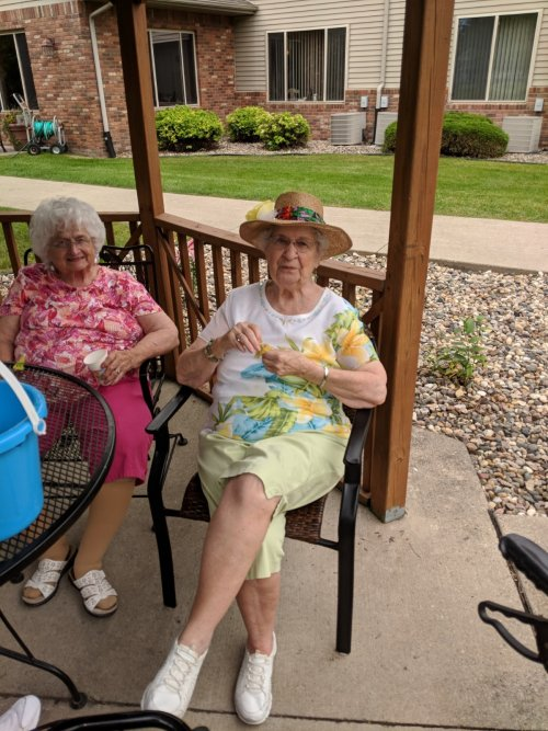 Norma sports her colorful beach hat as her and Jane enjoy the day!