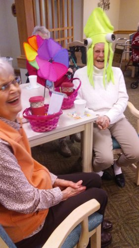 Betty got the squid hat and both she and Marilyn got prizes for winning the Primrose March treasure hunt!