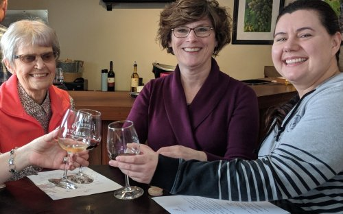 Marilyn, Lori, and Steph toast samples at the Javens Winery.