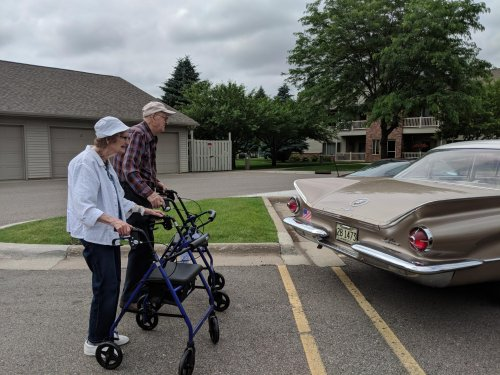Jean and Jim S. reminisce about their trip in a 59 Oldsmobile like this one. Jim says his fins were definitely sharper.