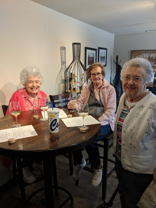 Mercedes, Jean and Vernice find some delicious samples in the glasses at the winery, too.