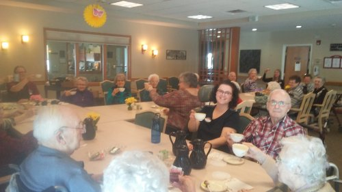 Tea parties are the BEST at Primrose Mankato!  This group says 'skoal' instead of Cheers. It is a Norwegian term for Very Good!