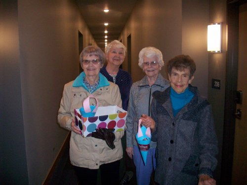 Marilyn, Aileen, Betty, and Betty enjoyed handing out baskets filled with sweet treats for May Day! Betty said. 'it was wonderful to do such a kind thing for someone else and the children were so grateful for our kind gesture!'