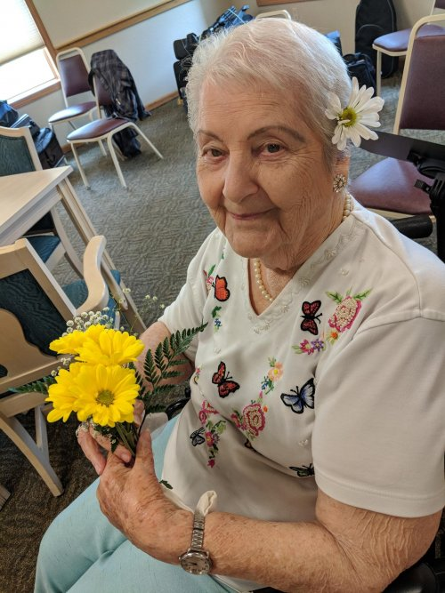 Irene H. looking pretty at Primrose's  birthday celebration. Wow, she's 97?