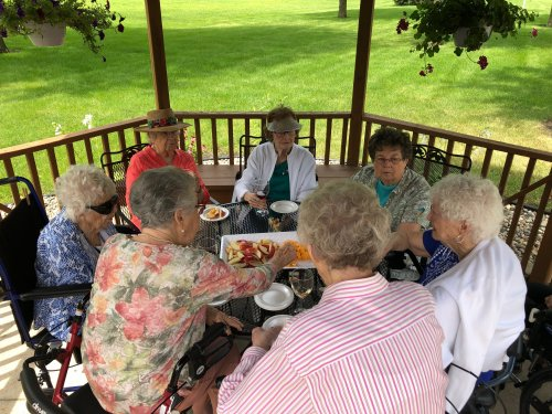 Residents enjoying some wine on a nice sunny day!