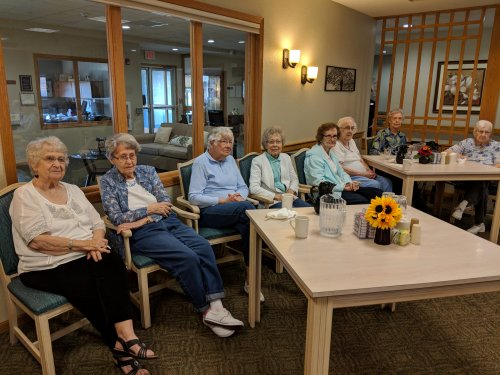 Residents enjoy the afternoon entertainment celebrating resident and staff birthdays in September!