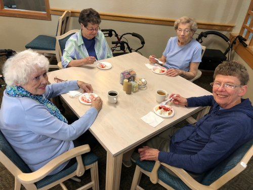 What makes a great party even better? Angel food cake with strawberries and whipped topping! These ladies are loving it!