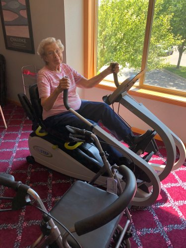 Adeline is staying in shape with our NuStep!