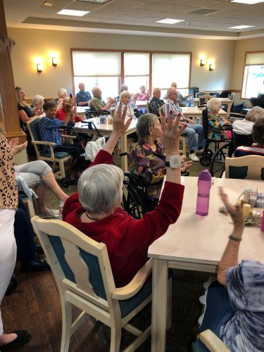 Residents cheering and clapping for some good music!