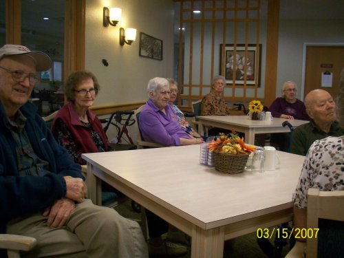 Primrose residents enjoying the entertainment for our monthly birthday party!