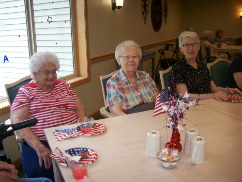 Jane, Doris, and Mary share laughs reminiscing about Fourth of July celebrations of their younger years.