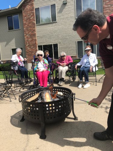 For National Toasted Marshmallow day, we gathered around the campfire, toasted marshmallows until they were golden brown, sang songs, and shared stories of bonfires past!