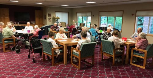 Residents excitedly waiting for Patriotic Bingo to start on the 4th of July.