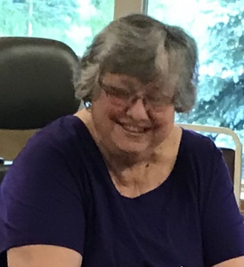 Resident, LeAnn all prepped and ready for her Encouragement for Today program to start! We love seeing our residents get involved!
