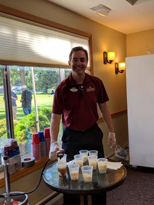 Steve making some root beer floats with that good ol' 1919 root beer!