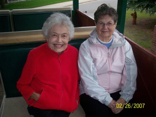 Residents Mercedes and Monica enjoying Trolley Rides during our fall festival.