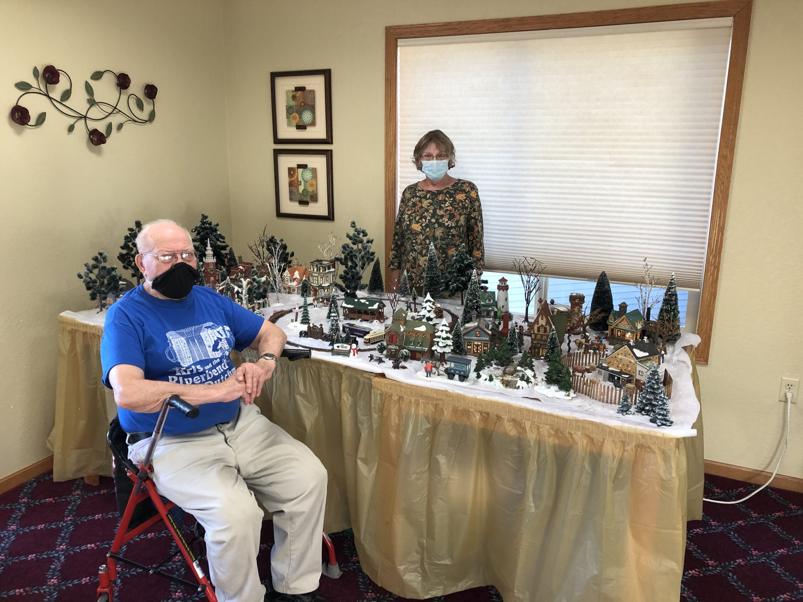 Richard & Carol worked together to put this beautiful Christmas village & train set together for all to enjoy!