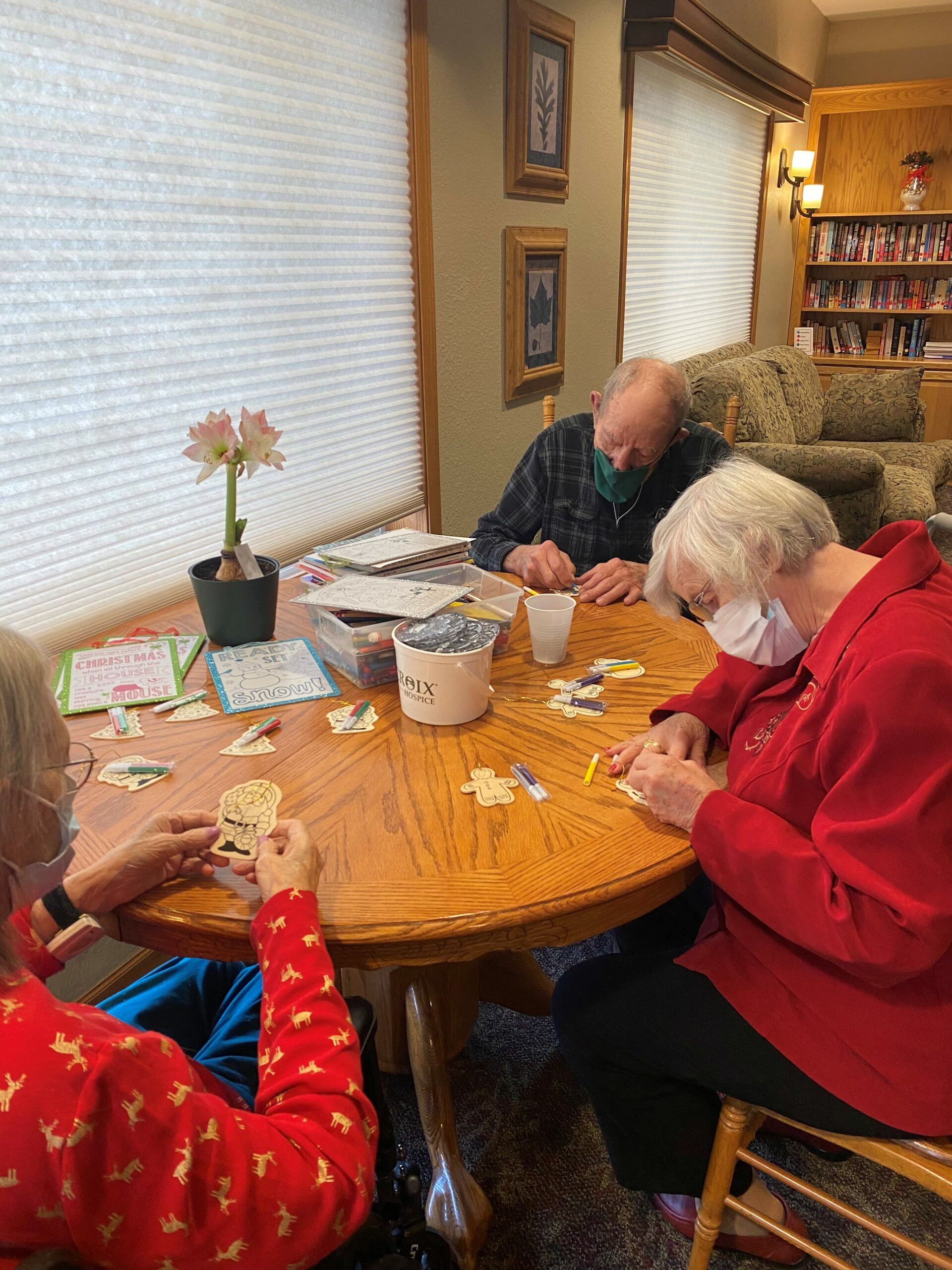 Sharon, Mike & Dorie enjoy some aromatherapy while coloring Christmas ornaments!