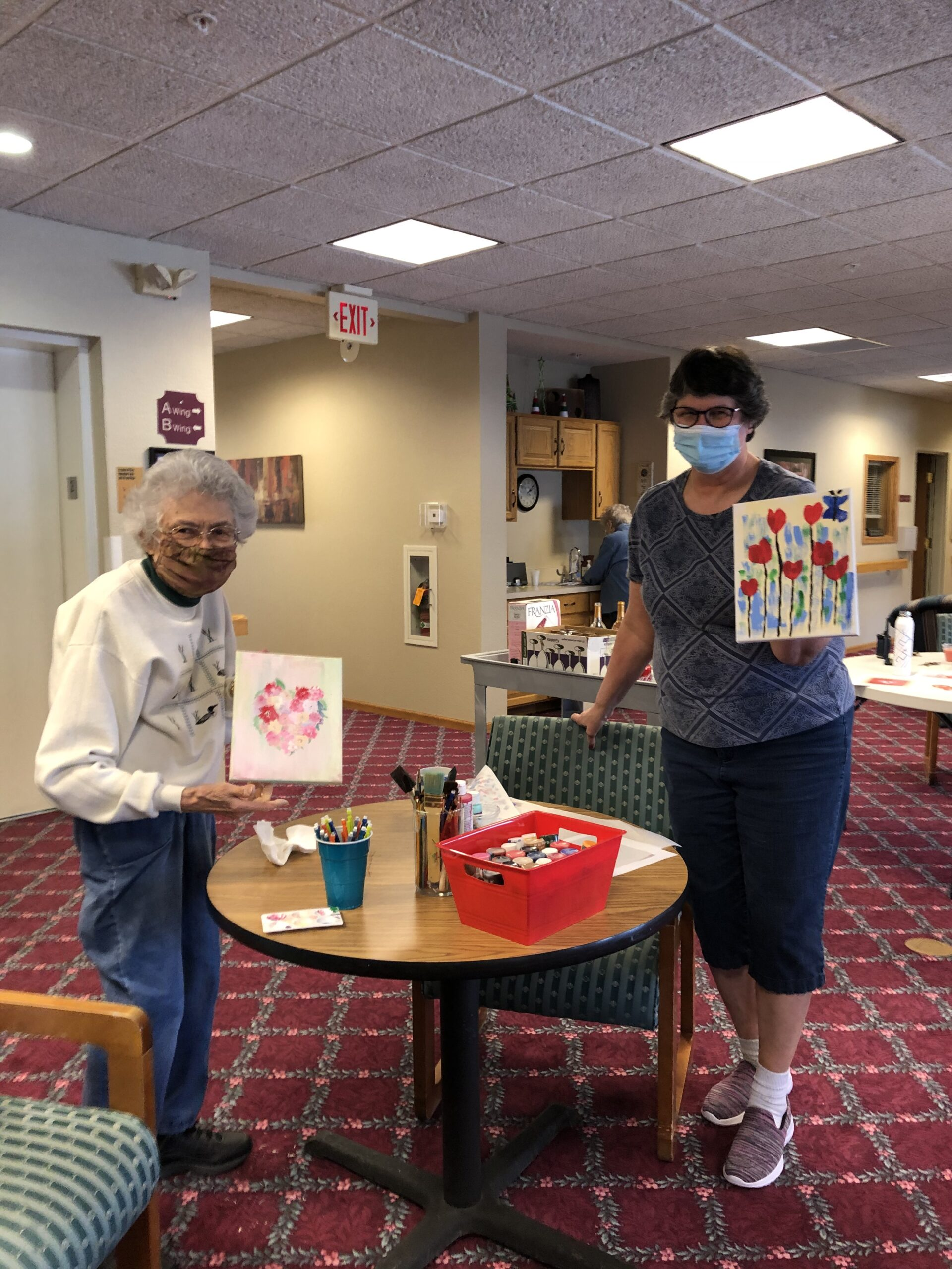 Val & Mercedes get ready for Valentine's Day with a little sip & paint event!