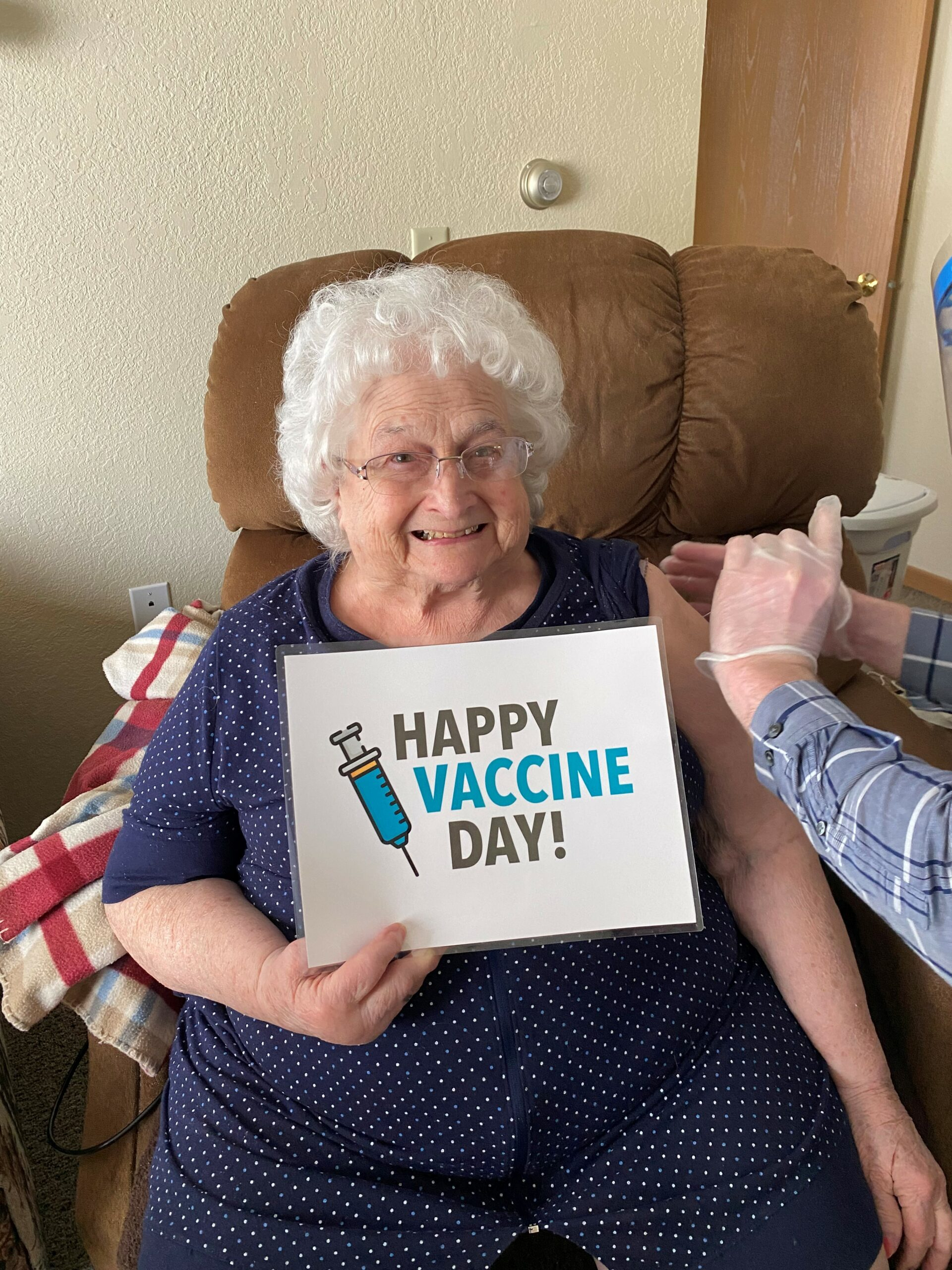 Happy Vaccination Day! Jane was excited to get her vaccine today!