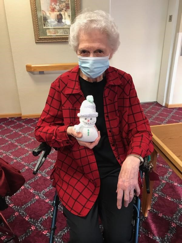 Mary Ann joins us for craft days quite often. January is all about snowmen!
