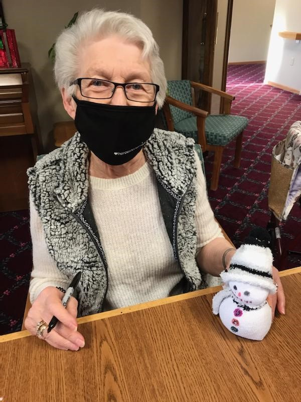 Mary created a sock & rice snowman for our craft day!