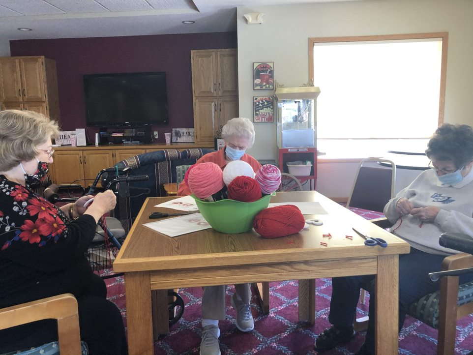 With Valentine's Day approaching, Mary, Monica & Mary Ann created beautiful hanging hearts!