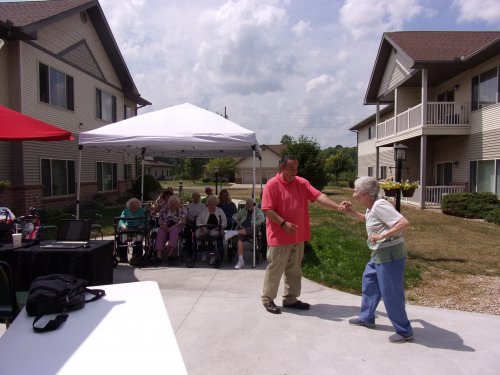 Party on the patio with Joan dancing to the oldies music with Dj Tony