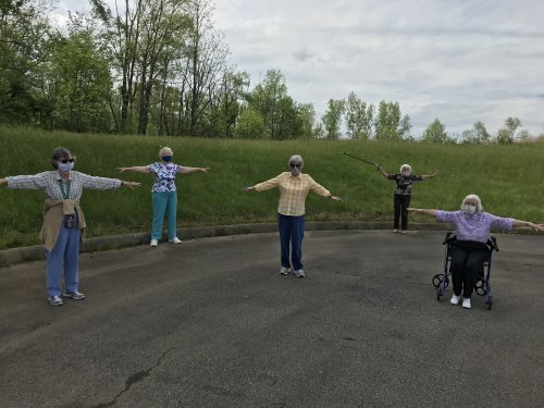 Outdoors exercising using social distancing