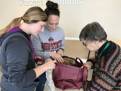 Random Acts of kindness Day.  Residents visited Ashland School of Nursing and passed out Amazon gift cards and hand made hats made by the Busy Bee crocheting group at Primrose.