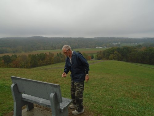 Malabar Farm outing on top of Mt Jeez looking at the bench that was in honor of Lois Bromfield.