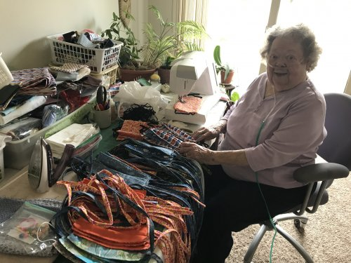 Our wonderful resident Wonda, made over 30 masks to donate.  What a wonderful talented sweet resident.