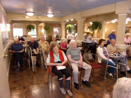 Residents enjoying entertainment and music