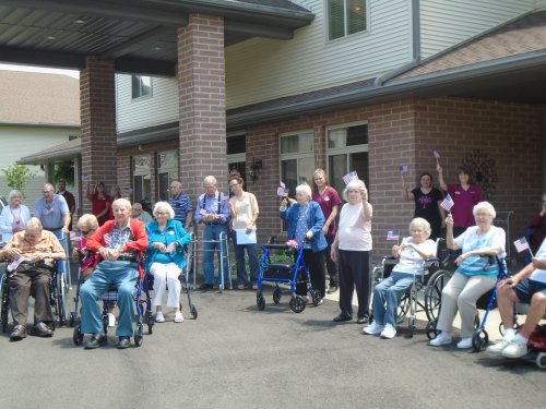 Flag Day event with residents showing their pride