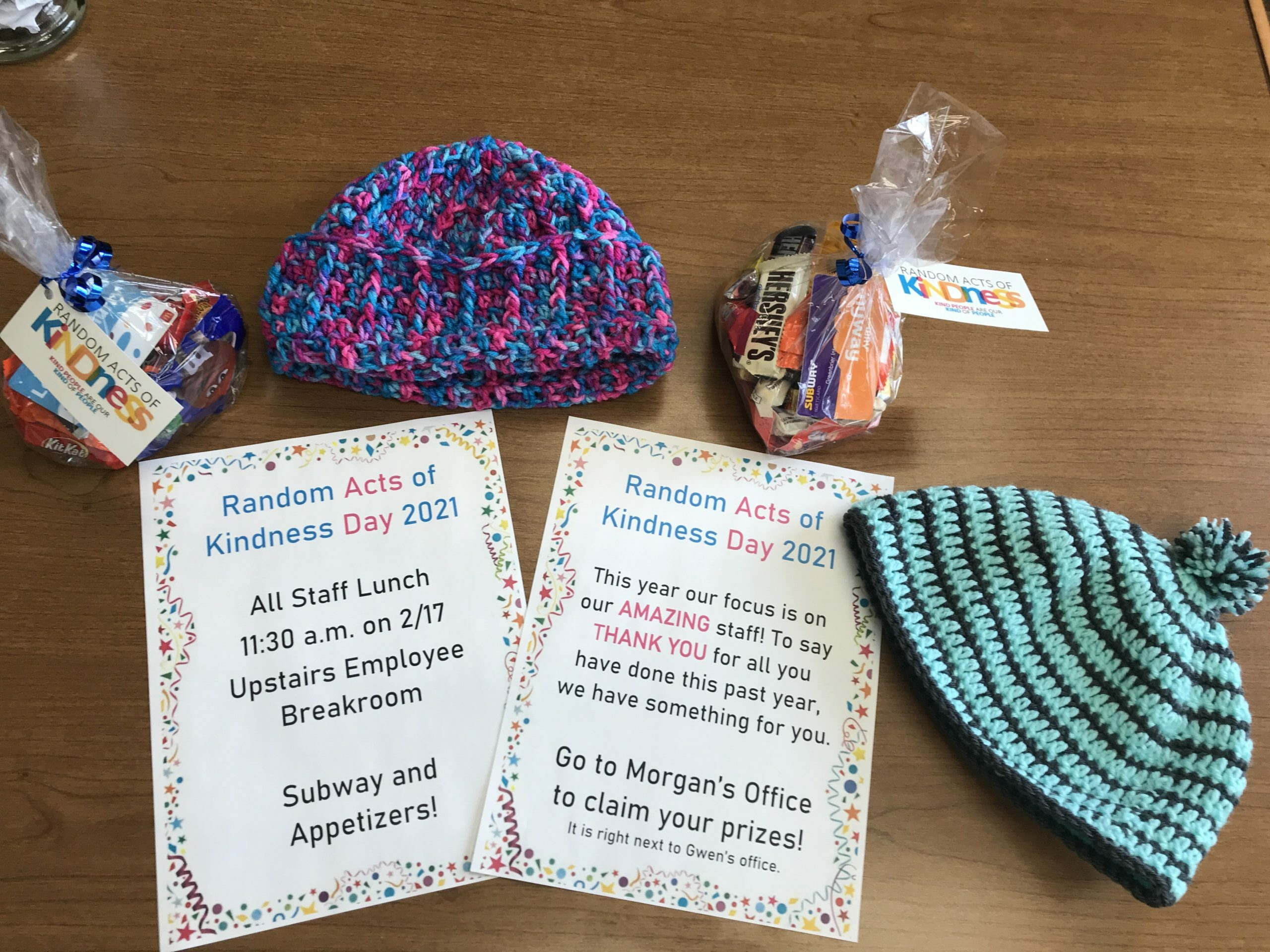 Random Acts of kindness to our staff , with hats made by our own busy bees residents group