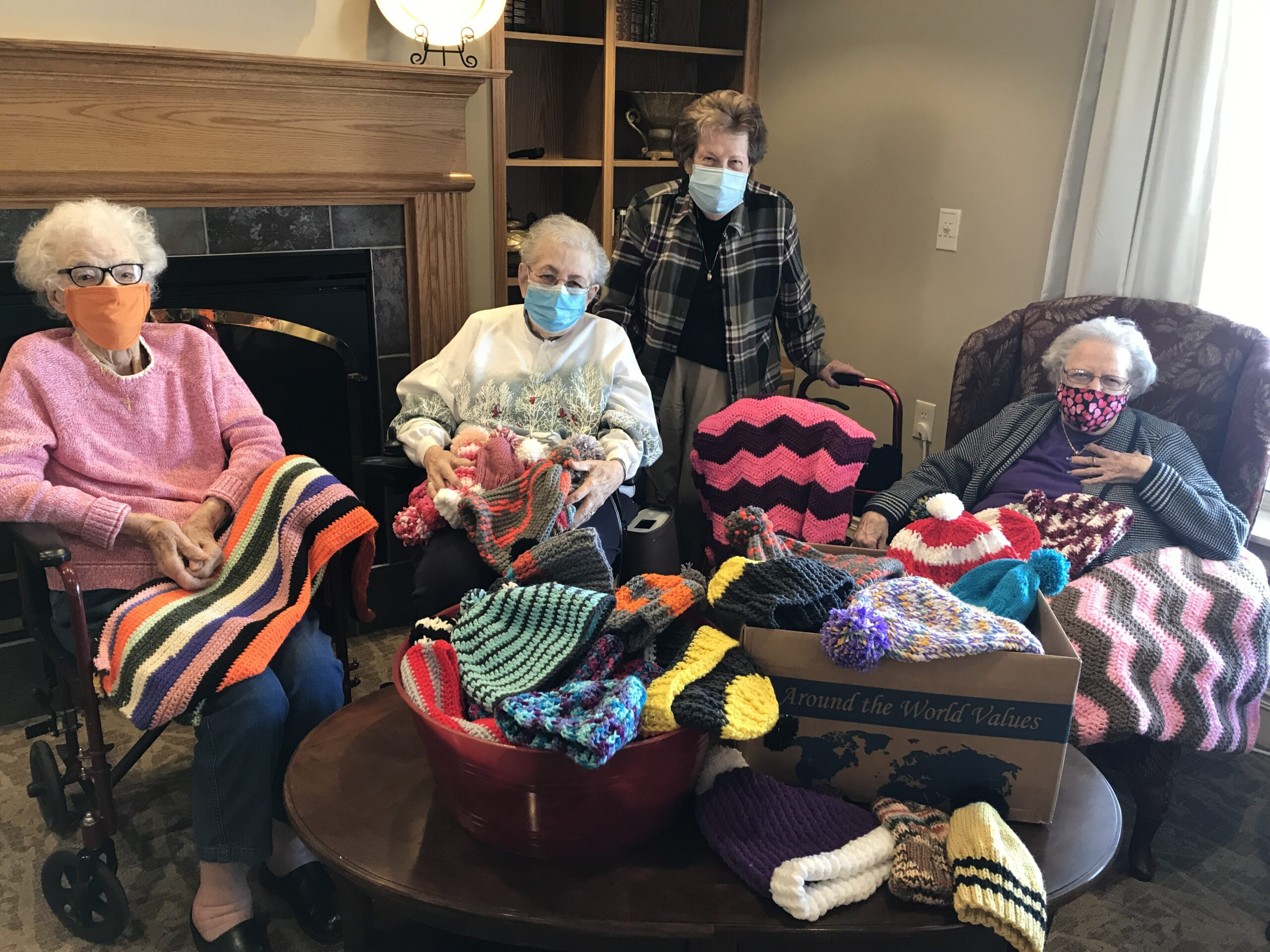 Part of the Busy Bees group of ladies that donated their hard work making these beautiful hats and afghans for our Random Acts of Kindness day