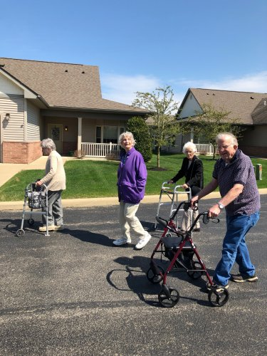 Our residents in the walking club are out enjoying the sunshine!