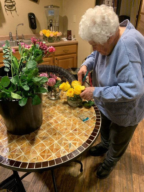 Anne created beautiful floral arrangements to give to new residents and to put around the community to brighten everyone's day!