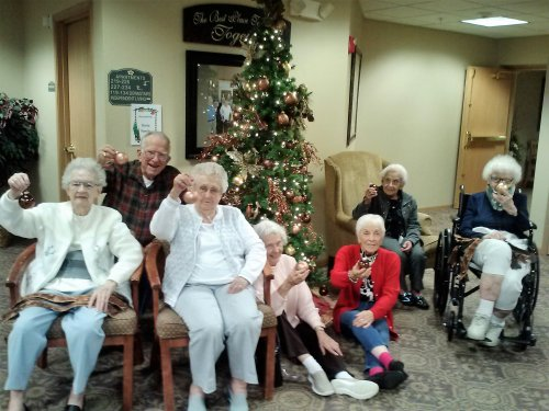 Residents Marie, Kenny, Faye, Norma, Pauline, Rosie and Nancy came together in the Christmas spirit to decorate a tree at Primrose of Marion.
