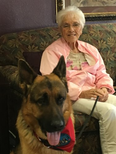 Pauline and therapy dog Jack became good friends.
