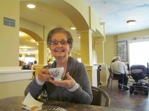 Ann enjoying her tea at our Mother's Day tea party.