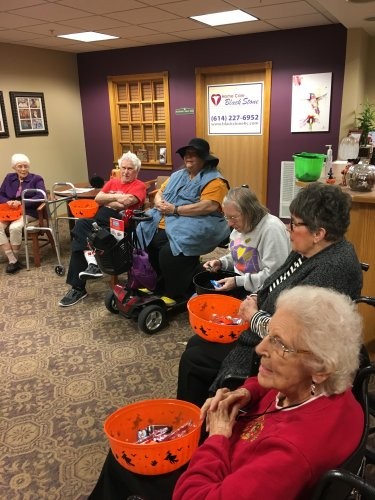 The residents loved passing out candy for our Trick-or-Treat night!