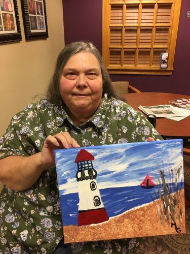 Marcia painted this beautiful beach and light house at our paint & sip class.