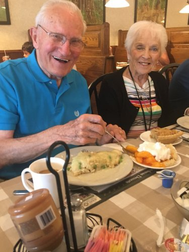 Pie is a must when you are at Der Dutchman's! Pauline and Joe enjoying Peach and Rhubarb pies.