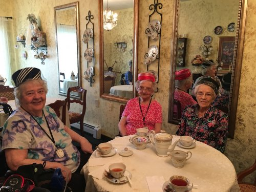 The ladies wore their hats for the Tea Party this afternoon.