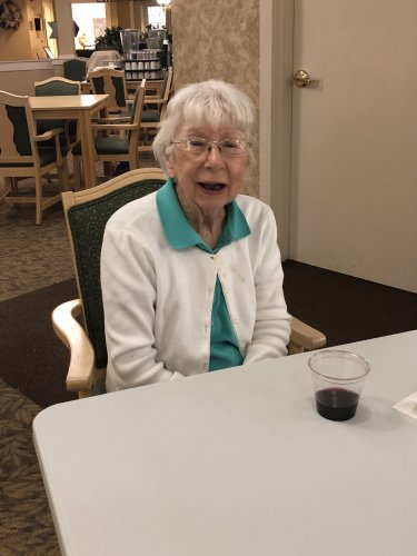 June enjoyed Friday's Happy Hour! She was excited to drink her glass of wine in great company. Being six to ten feet apart can't stop us from having a good time!