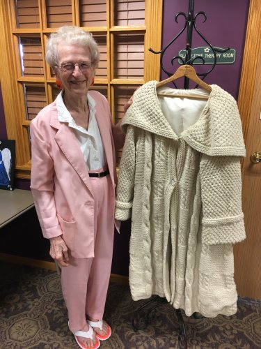 Betty's hand made coat that was displayed in our art exhibit.