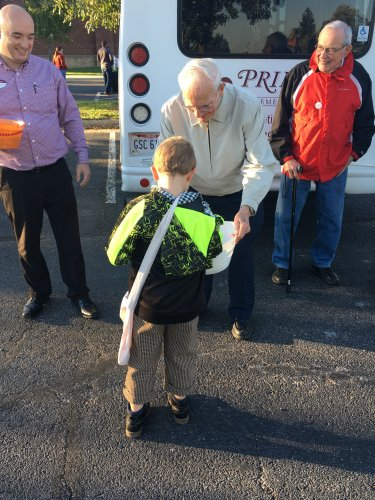 Joe enjoyed the evening passing out candy to students at Taft Elementary School.