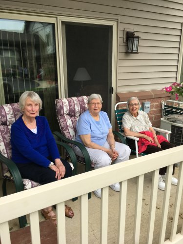 Front row seats for these lucky residents! Enjoying the nice weather.